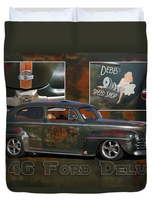 Ford Duvet Cover featuring the photograph 1946 Ford Deluxe by Alan Hutchins