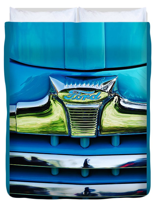 1947 Ford Deluxe Convertible Duvet Cover featuring the photograph 1947 Ford Deluxe Grille Ornament -0700c by Jill Reger