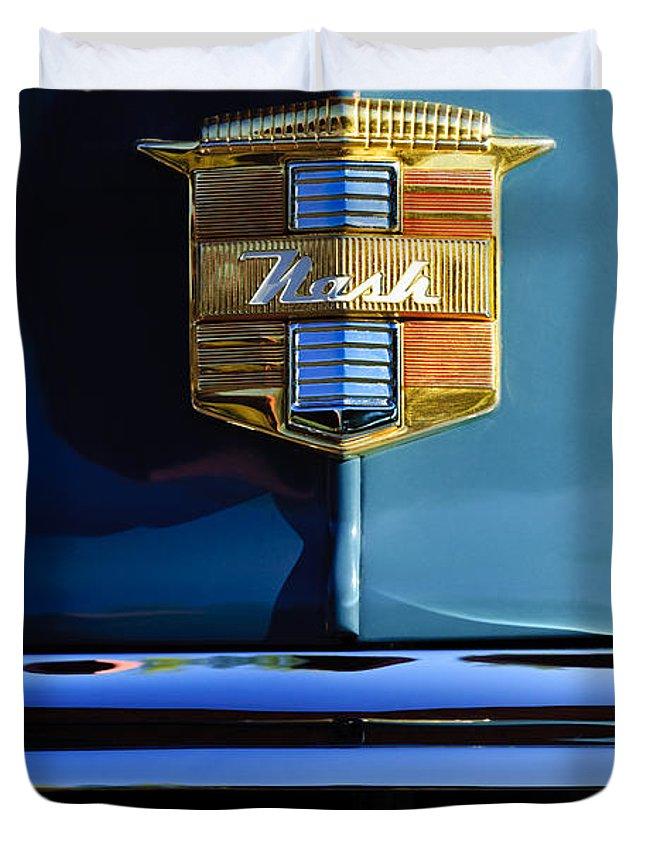 1947 Nash Suburban Duvet Cover featuring the photograph 1947 Nash Surburban Hood Ornament by Jill Reger