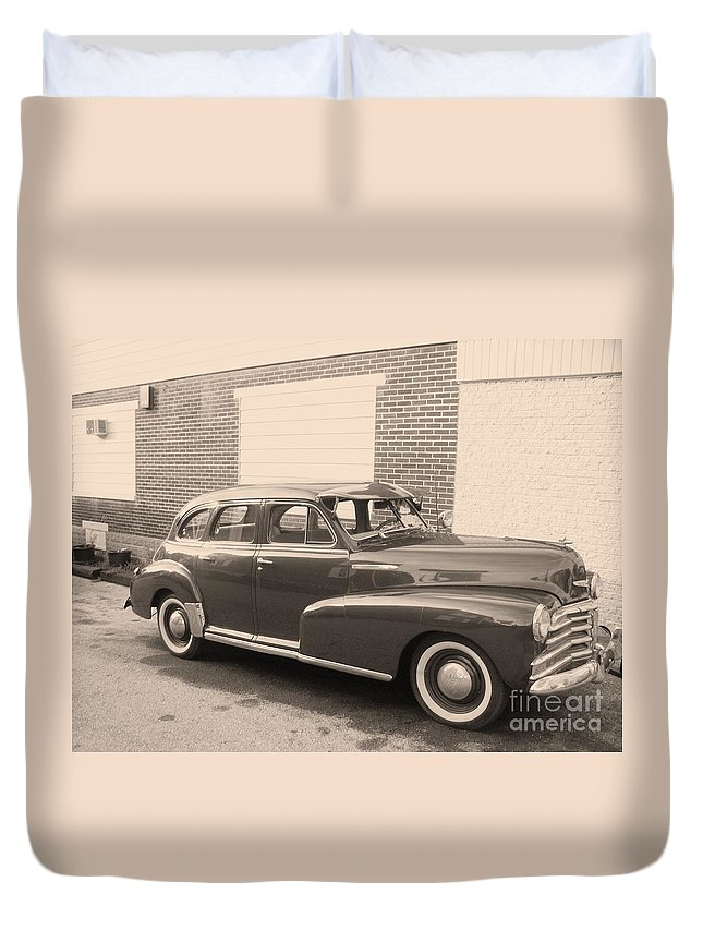 Chevy Duvet Cover featuring the photograph 1948 Chevy by Eric Schiabor