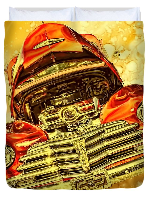 1948 Duvet Cover featuring the photograph 1948 Chevy Gold Acid Art by Lesa Fine