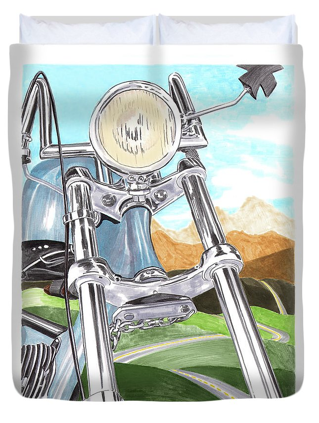 1948 Harley Duvet Cover featuring the painting 1948 Harley Davidson W L A by Jack Pumphrey