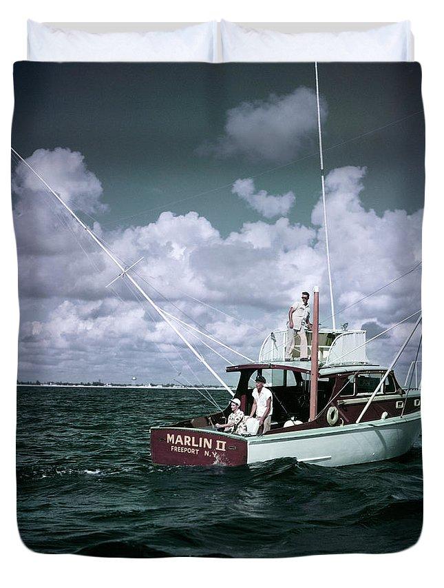 1950s 3 Men On Charter Fishing Boat Duvet Cover