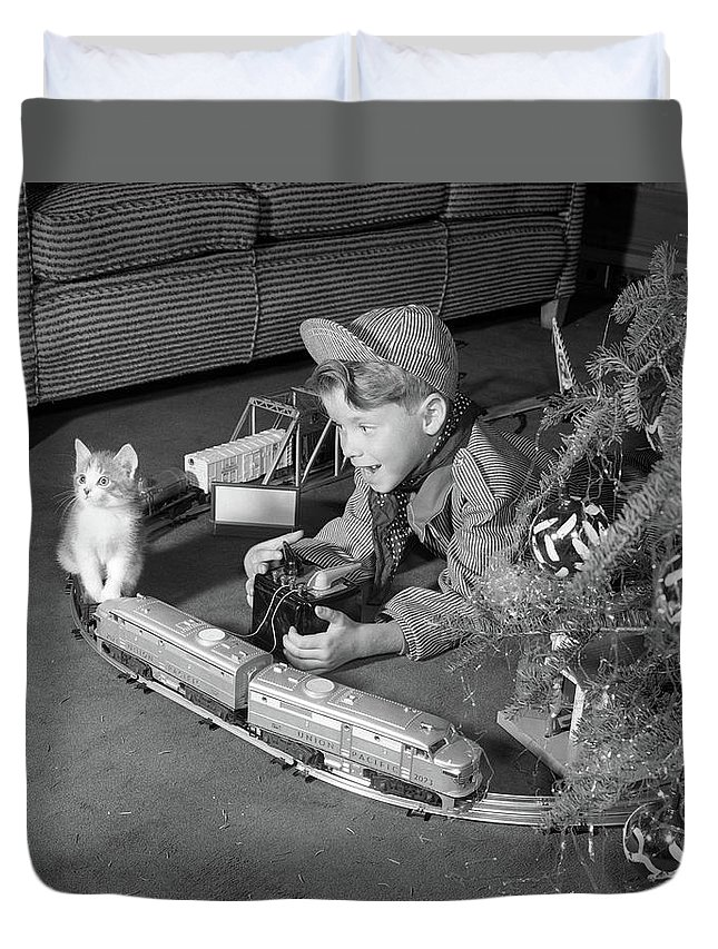 Photography Duvet Cover featuring the photograph 1950s Boy In Engineer Outfit by Vintage Images