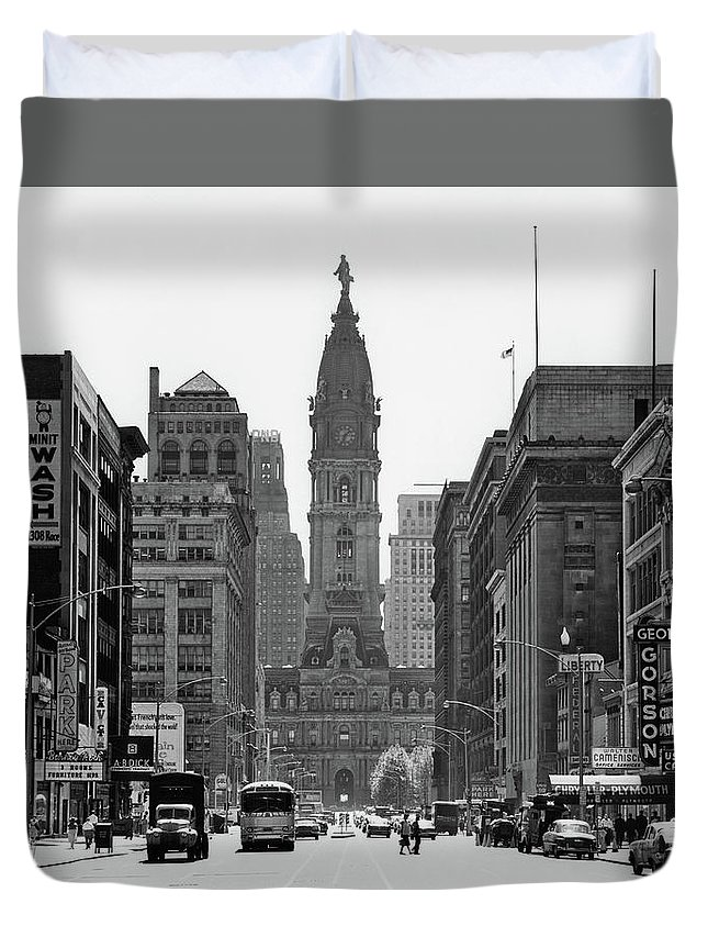 Photography Duvet Cover featuring the photograph 1950s Downtown Philadelphia Pa Usa by Vintage Images