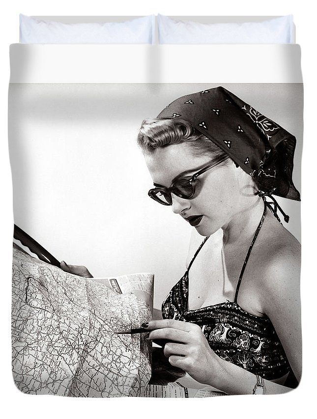 Photography Duvet Cover featuring the photograph 1950s Woman Wearing Bandana Sunglasses by Vintage Images