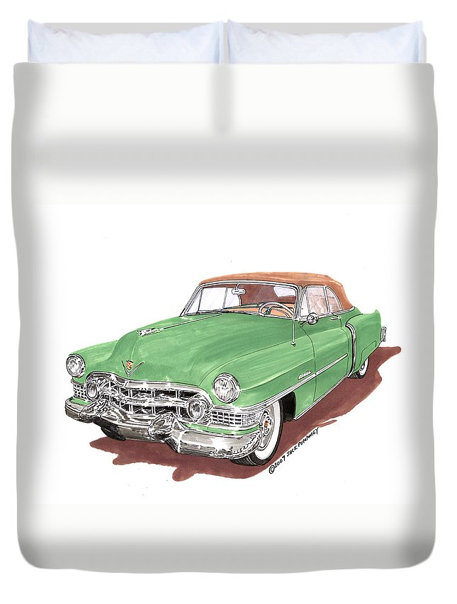 Classic Car Paintings Duvet Cover featuring the painting 1951 Cadillac Series 62 Convertible by Jack Pumphrey