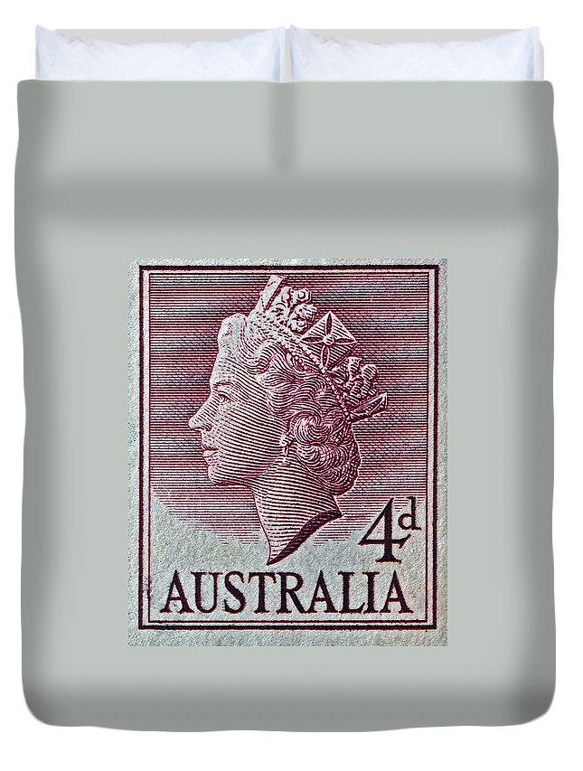 1952 Duvet Cover featuring the photograph 1952-1958 Australia Queen Elizabeth II Stamp by Bill Owen
