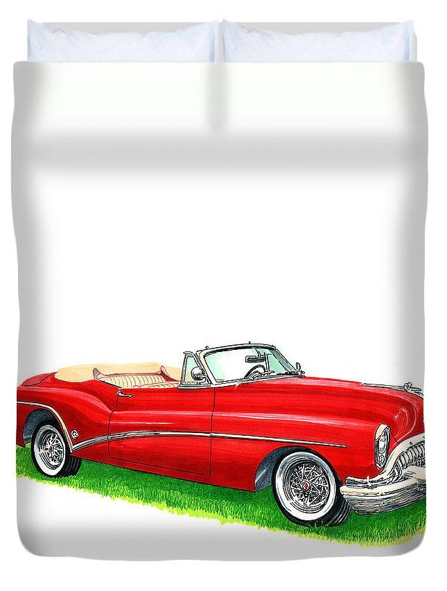 1953 Buick Skylark Convertible Duvet Cover featuring the painting 1953 Buick Skylark Convertible by Jack Pumphrey