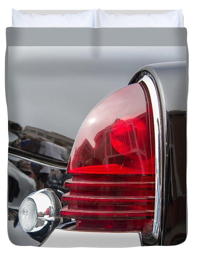 1953 Lincoln Capri Tail Light Duvet Cover featuring the photograph 1953 Lincoln Capri Tail Light by Roger Mullenhour
