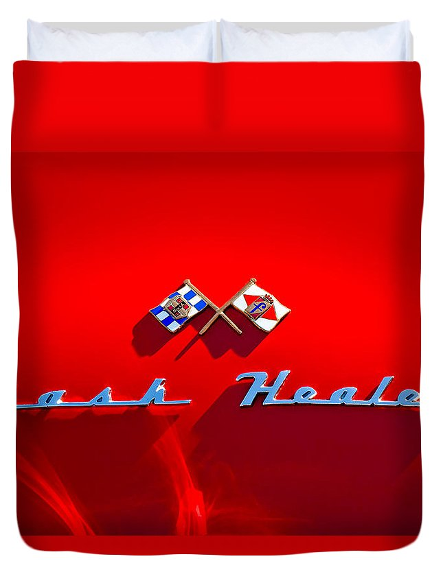 1953 Nash-healey Roadster Duvet Cover featuring the photograph 1953 Nash-healey Roadster Emblem by Jill Reger