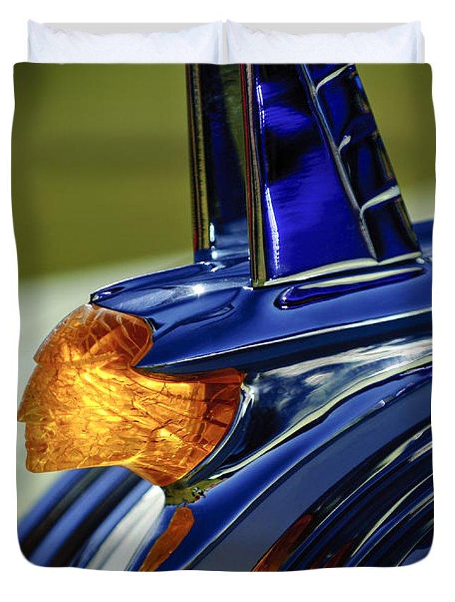 1953 Pontiac Duvet Cover featuring the photograph 1953 Pontiac Hood Ornament 3 by Jill Reger