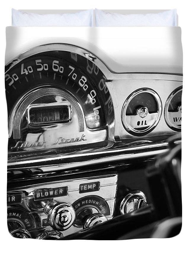 Car Cars Chrome Auto Autos Automobile Automobiles hot Rod hot Rods muscle Car muscle Cars Vintage Transportation 1953 Pontiac Silver Streak Duvet Cover featuring the digital art 1953 Pontiac Silver Streak by David Caldevilla