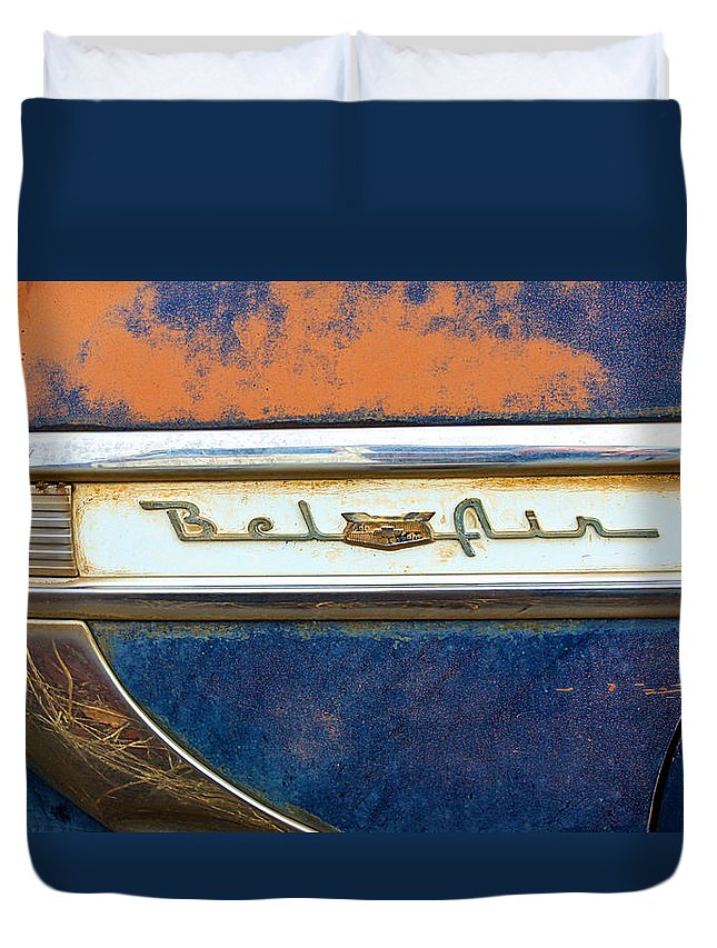 Rust Duvet Cover featuring the photograph 1954 Chevy Bel Air by Steve McKinzie