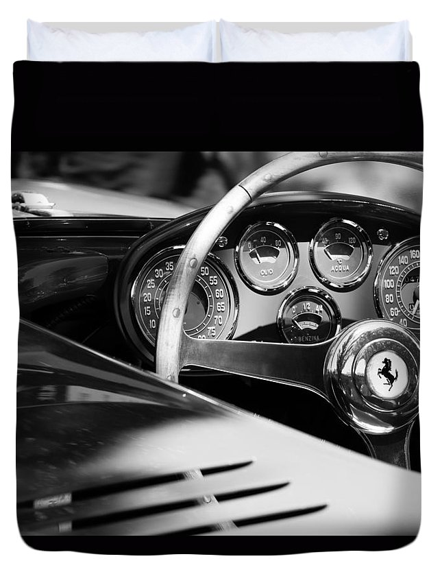1954 Ferrari 500 Mondial Spyder Steering Wheel Emblem Duvet Cover featuring the photograph 1954 Ferrari 500 Mondial Spyder Steering Wheel Emblem by Jill Reger