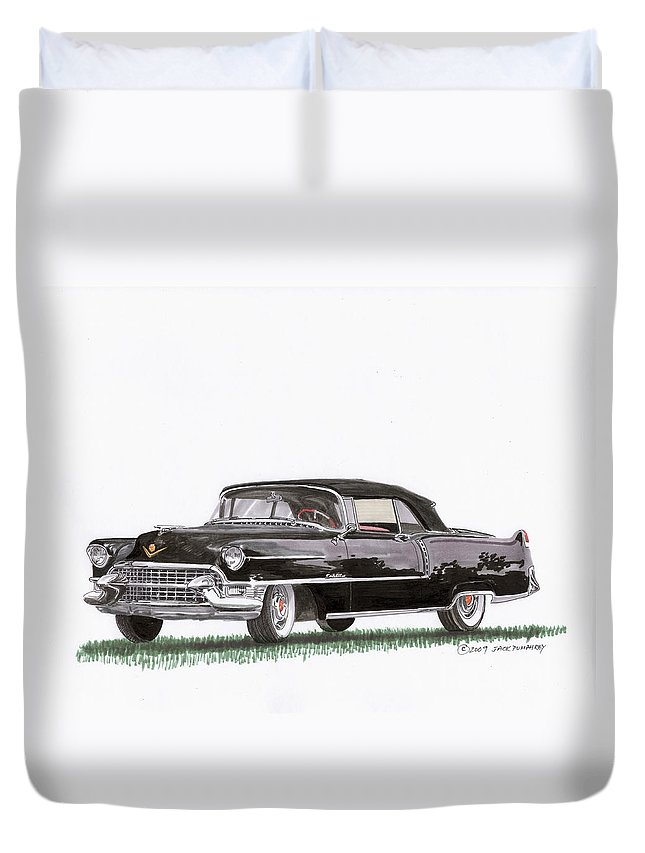 Classic Car Paintings Duvet Cover featuring the painting 1955 Cadillac Series 62 Convertible by Jack Pumphrey