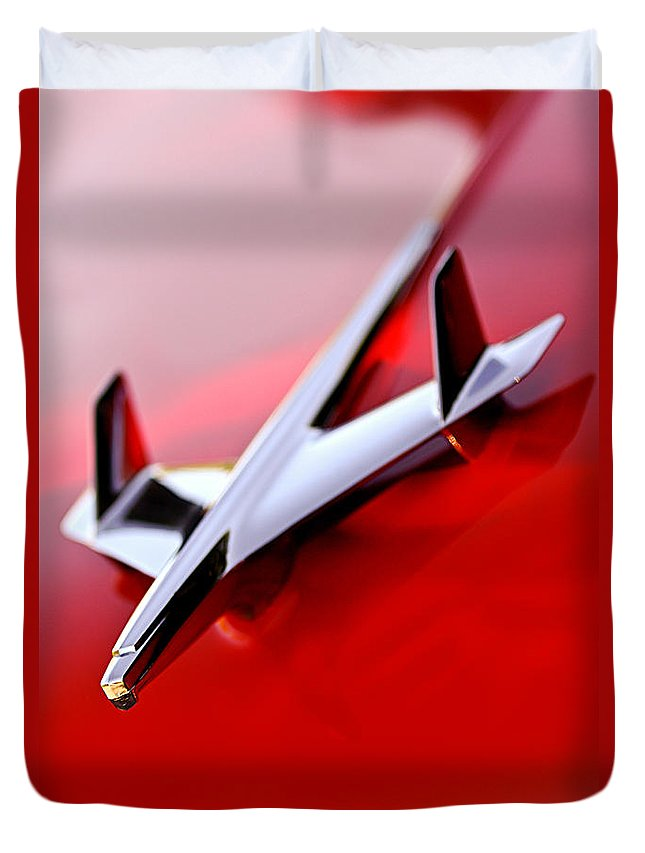 1955 Chevrolet Belair Nomad Hood Ornament Duvet Cover featuring the photograph 1955 Chevrolet Belair Nomad Hood Ornament by Jill Reger