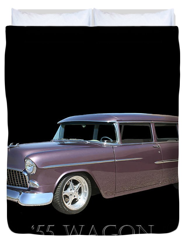 A Photograph By Jack Pumphrey Of A 1955 Chevy Two Door Station Wagon Duvet Cover featuring the photograph 1955 Chevy Handyman Wagon by Jack Pumphrey