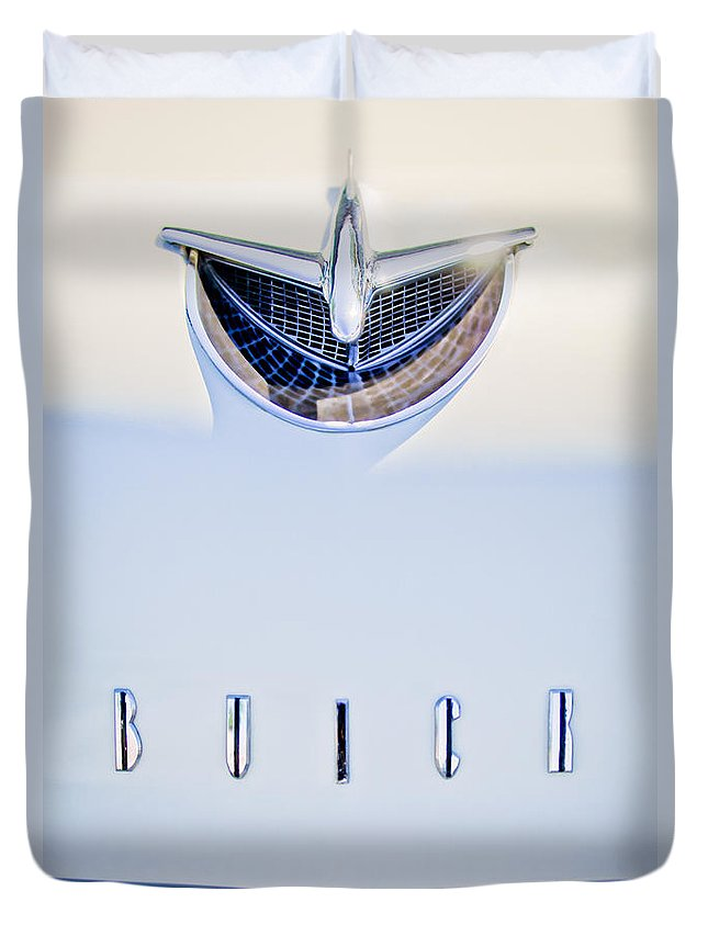 1956 Buick Special Duvet Cover featuring the photograph 1956 Buick Special Hood Ornament by Jill Reger