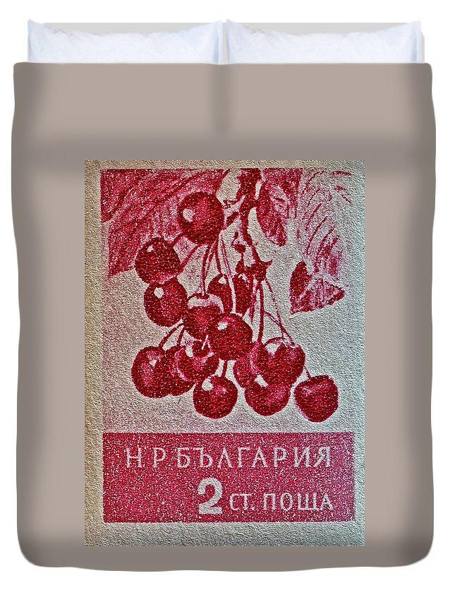1956 Bulgarian Duvet Cover featuring the photograph 1956 Bulgarian Wild Cherry Stamp by Bill Owen