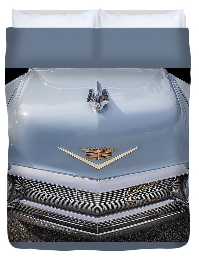 1956 Cadilac Duvet Cover featuring the photograph 1956 Cadilac Sedan De Ville Smiling by Rich Franco