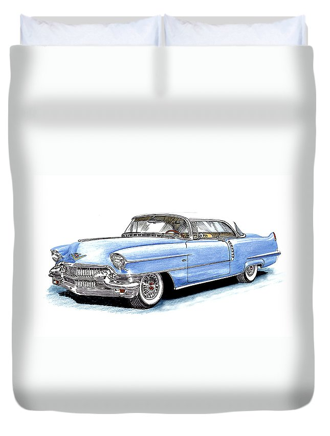 1956 Duvet Cover featuring the drawing 1956 Cadillac Coupe De Ville by Jack Pumphrey