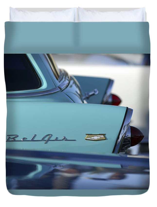 Car Duvet Cover featuring the photograph 1956 Chevrolet Belair Nomad Rear End by Jill Reger