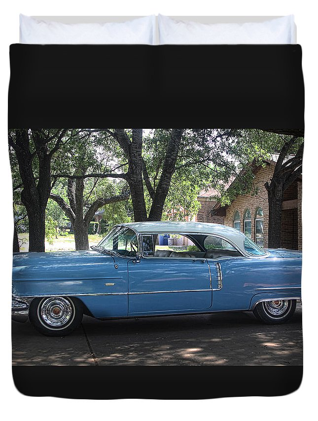 Transportation Duvet Cover featuring the photograph 1956 Classic Cadillac Left View by Linda Phelps