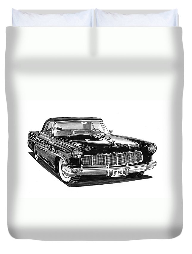 1956 Lincoln Continental Mark Ii Duvet Cover featuring the painting 1956 Continental Mk II by Jack Pumphrey