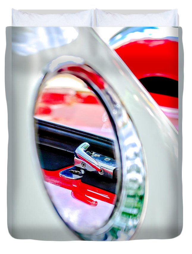 1956 Ford Thunderbird Latch Duvet Cover featuring the photograph 1956 Ford Thunderbird Latch -417c by Jill Reger