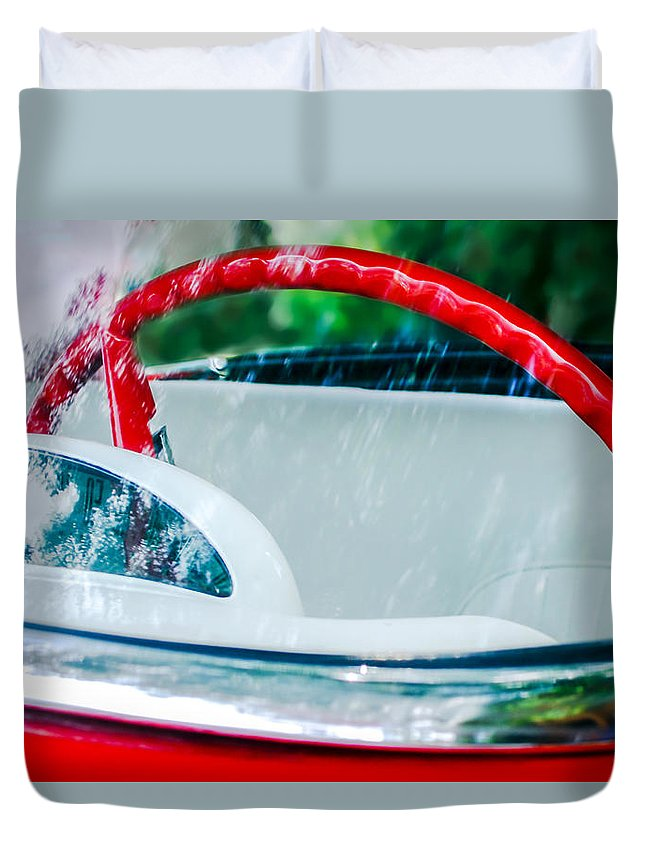 1956 Ford Thunderbird Steering Wheel Duvet Cover featuring the photograph 1956 Ford Thunderbird Steering Wheel -402c by Jill Reger