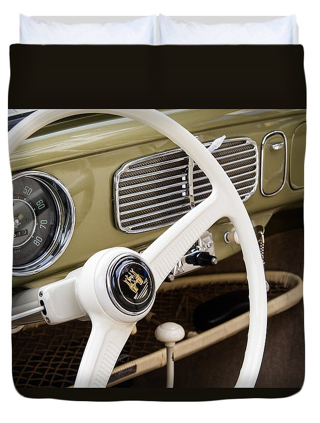 1956 Volkswagen Bug Convertible Steering Wheel Duvet Cover featuring the photograph 1956 Vw Convertible Steering Wheel by Roger Mullenhour
