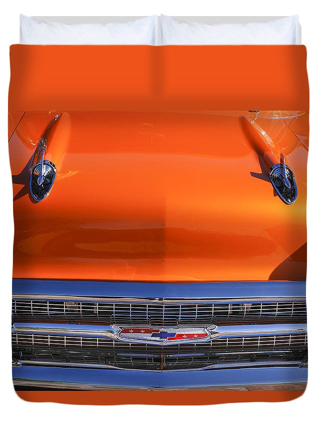 1957 Chevrolet Bel Air Hood Ornament Duvet Cover featuring the photograph 1957 Chevrolet Belair Hood Ornament - Grille Emblem -055c by Jill Reger