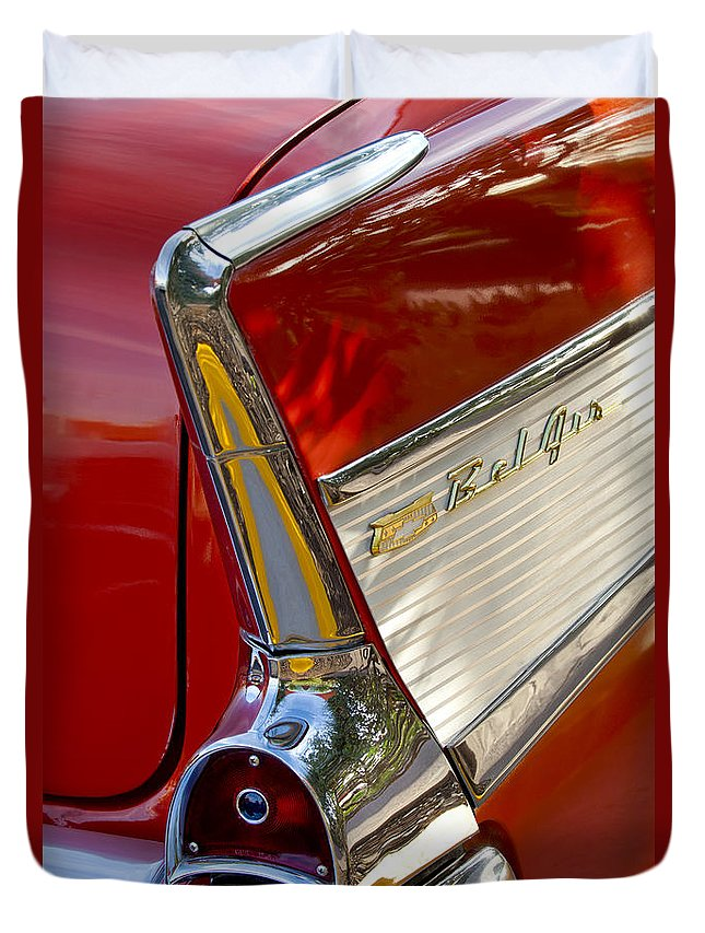 1957 Chevrolet Belair Duvet Cover featuring the photograph 1957 Chevrolet Belair Taillight by Jill Reger