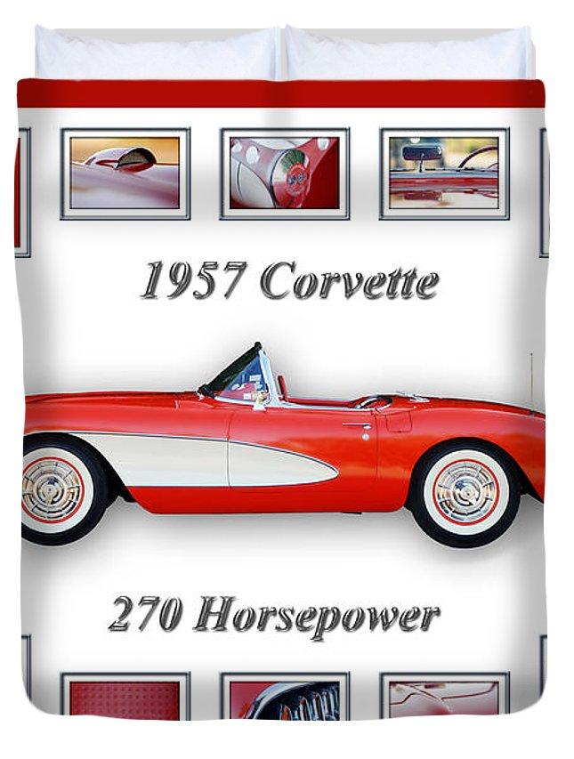 1957 Chevrolet Corvette Grille Duvet Cover featuring the photograph 1957 Chevrolet Corvette Art by Jill Reger