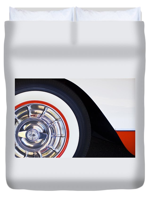 1957 Chevrolet Corvette Convertible Wheel Duvet Cover featuring the photograph 1957 Chevrolet Corvette Wheel by Jill Reger
