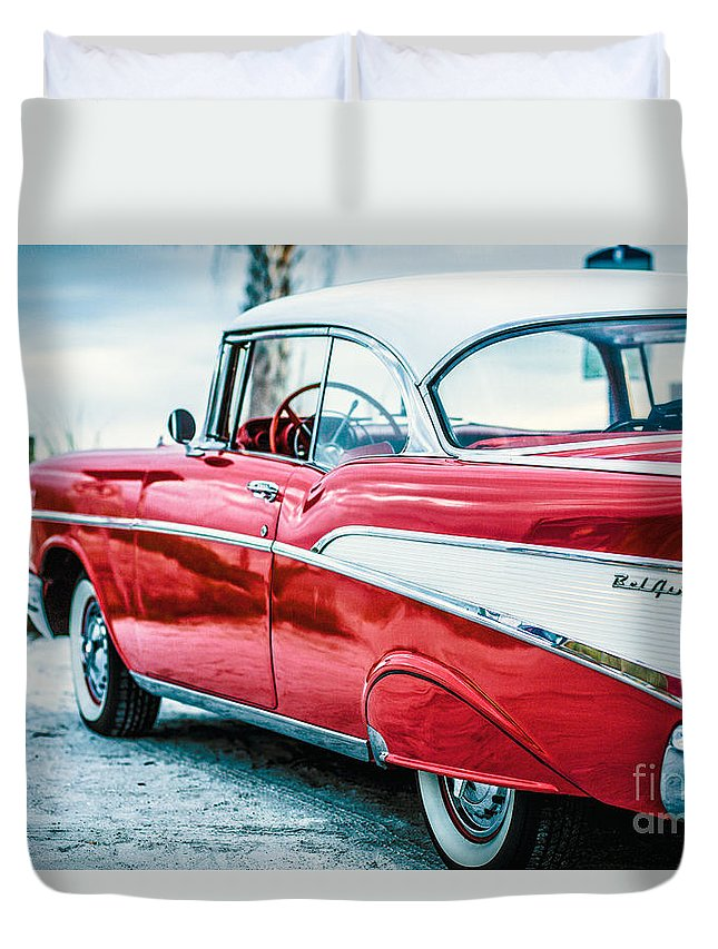 1957 Duvet Cover featuring the photograph 1957 Chevy Bel Air by Edward Fielding