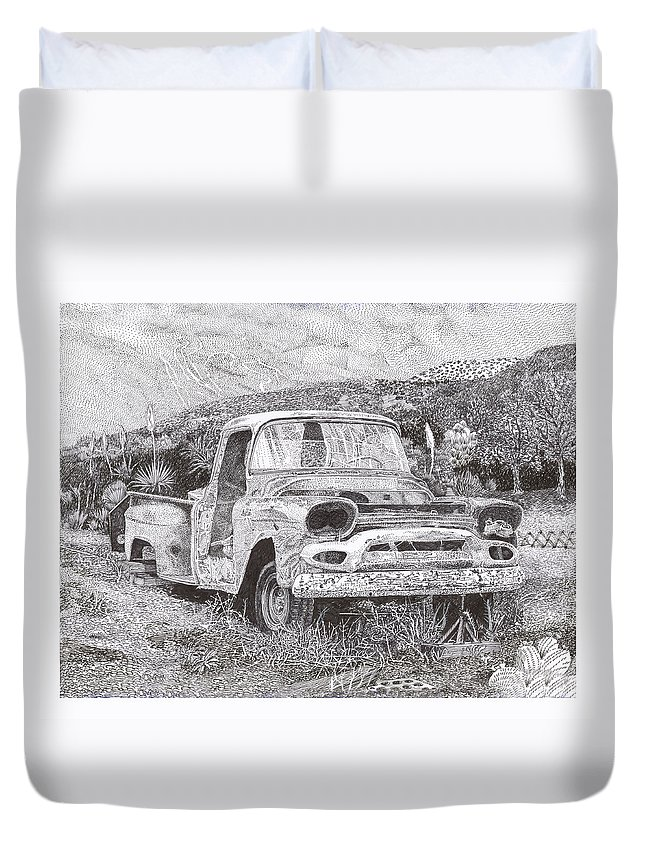 Classic 1957 Gmc Pick Up That's Seen Better Days Duvet Cover featuring the drawing Ran When Parked by Jack Pumphrey