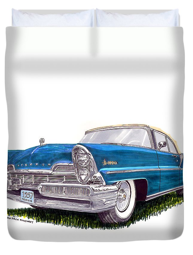 Classic Car Art Duvet Cover featuring the painting 1957 Lincoln Premiere Convert by Jack Pumphrey
