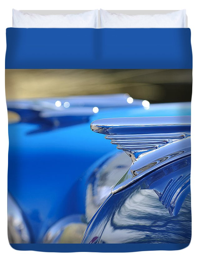 1957 Oldsmobile Duvet Cover featuring the photograph 1957 Oldsmobile Hood Ornament 3 by Jill Reger