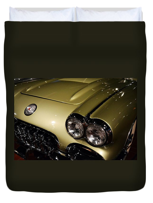 Corvette Duvet Cover featuring the photograph 1958 Fancy Free Corvette J58s by Michelle Calkins