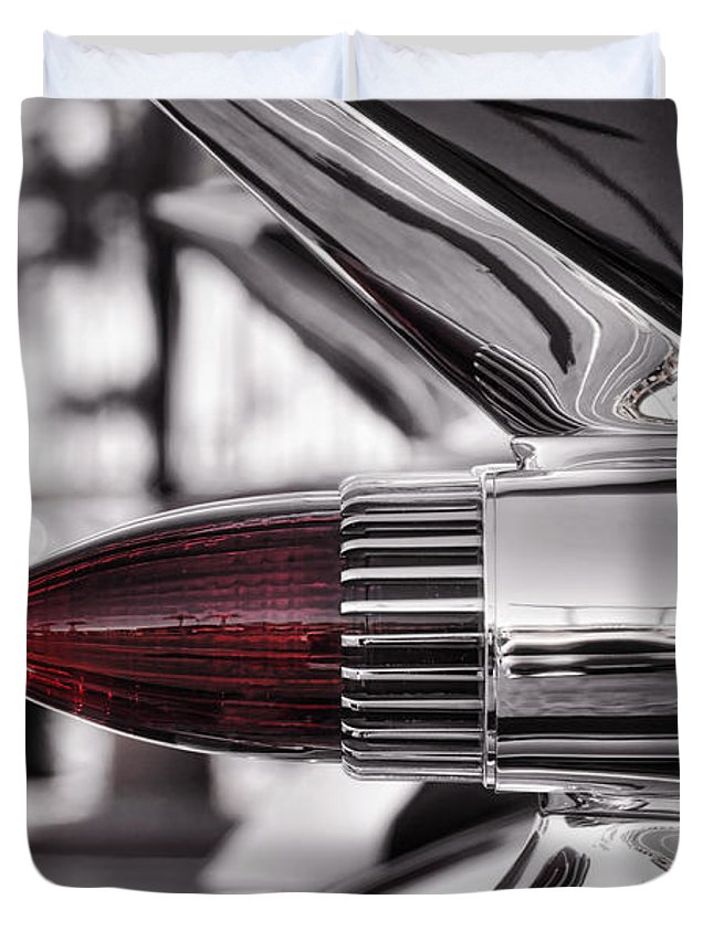 1959 Cadillac Duvet Cover featuring the photograph 1959 Cadillac Eldorado Tailight by Saija Lehtonen