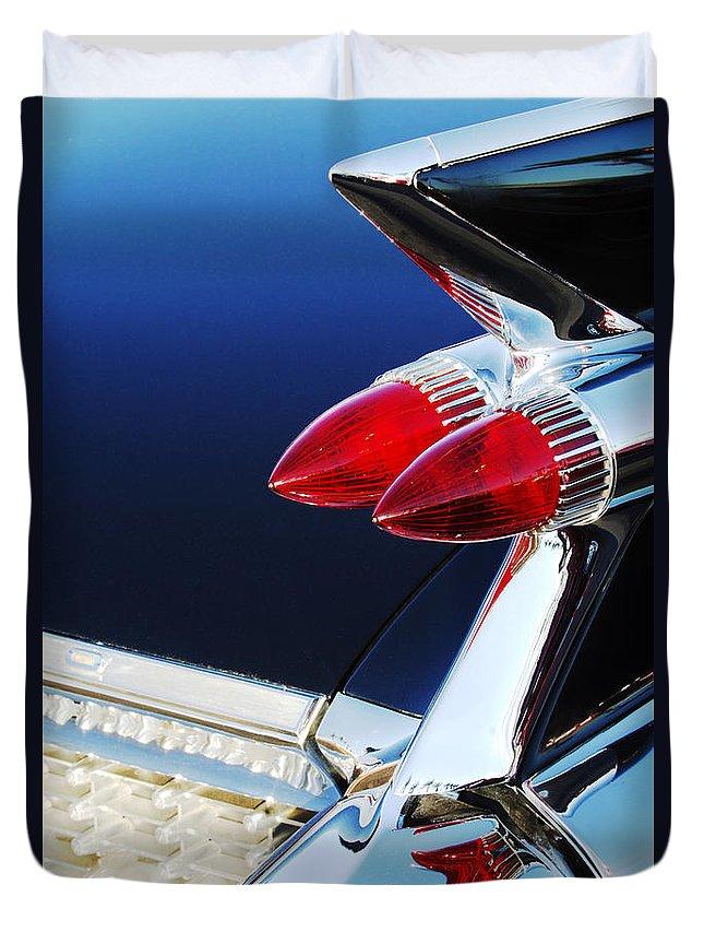 1959 Cadillac Eldorado Taillight Duvet Cover featuring the photograph 1959 Cadillac Eldorado Taillight -075c by Jill Reger