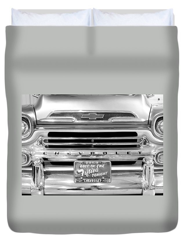 1959 Chevrolet Apache Duvet Cover featuring the photograph 1959 Chevrolet Apache Bw 012315 by Rospotte Photography