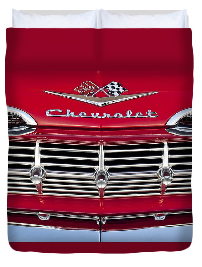 1959 Chevrolet Duvet Cover featuring the photograph 1959 Chevrolet Grille Ornament by Jill Reger