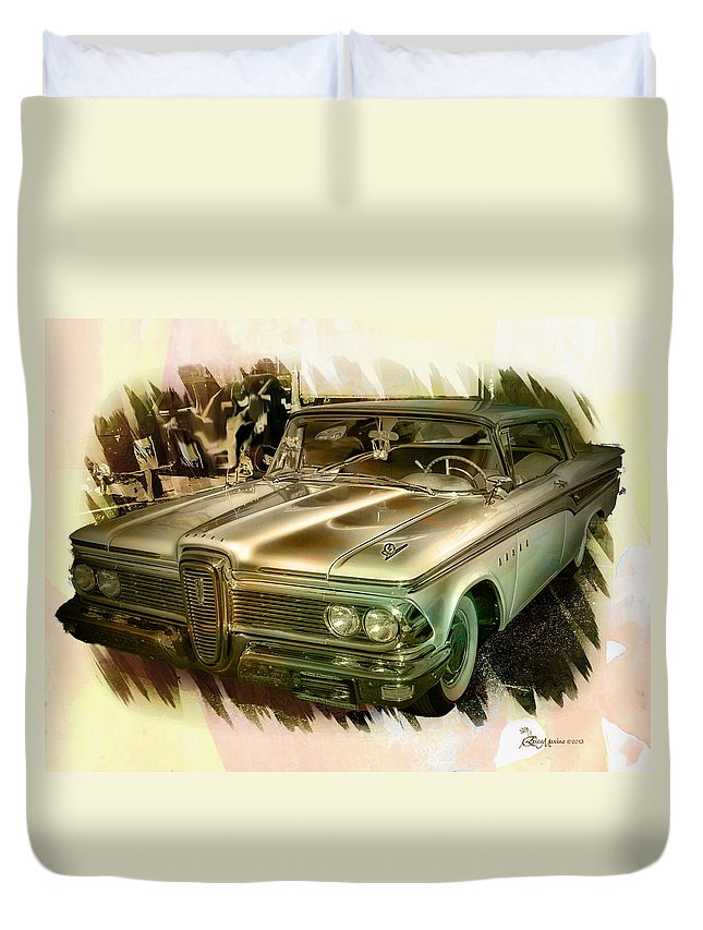 Edsel Duvet Cover featuring the photograph 1959 Edsel by Ericamaxine Price