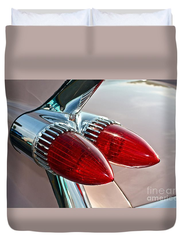 Car Duvet Cover featuring the photograph 1959 Eldorado Taillights by Linda Bianic