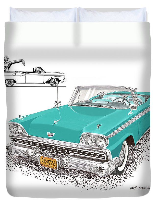 The 1959 Ford Fairlane 500 Skyliner Is A Full-size Two-door Automobile With A Retractable Hardtop Which Was Produced By Ford For The Model Years 1957 Duvet Cover featuring the painting Retractable Hard Top by Jack Pumphrey
