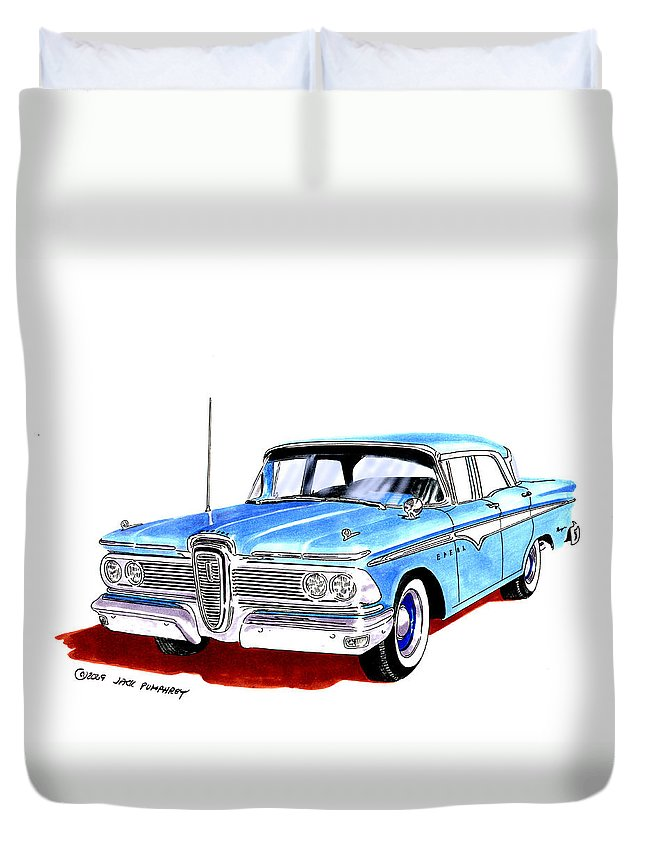 The 1959 Edsel Ranger Was An Automobile Produced By The Former Mercury-edsel-lincoln Division Of The Ford Motor Company Of Dearborn Duvet Cover featuring the painting 1959 Ford Edsel Ranger 4-door Sedan by Jack Pumphrey