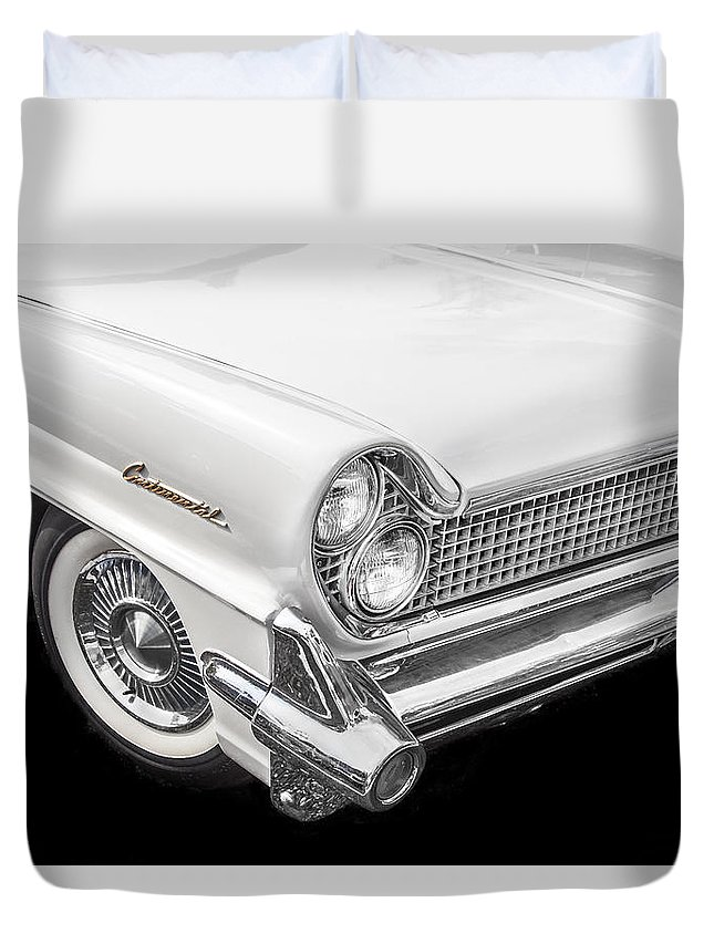 Lincoln Duvet Cover featuring the photograph 1959 Lincoln Continental Chrome by Rich Franco